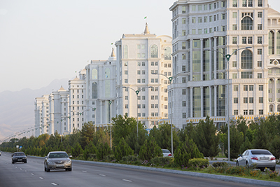 White marble buildings of Berzengi Ashgabat, Turkmenistan