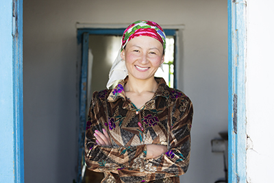 Portrait of a young Tajik woman, Alichur, Pamir Highway, Tajikistan